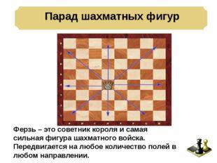 Парад шахматных фигур . Ферзь – это советник короля и самая сильная фигура ш