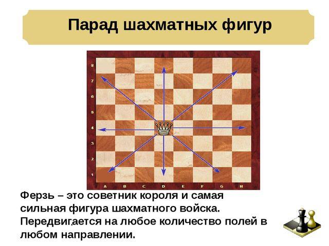 Парад шахматных фигур . Ферзь – это советник короля и самая сильная фигура ш...