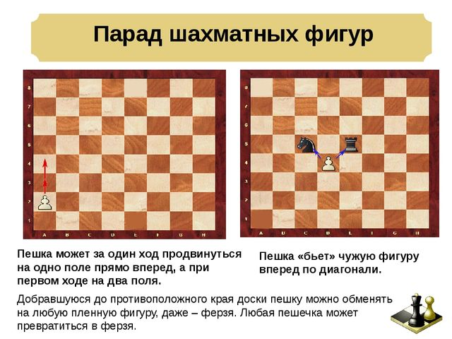 Парад шахматных фигур Пешка может за один ход продвинуться на одно поле прям...
