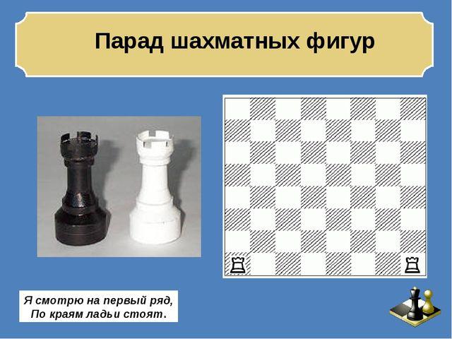 Парад шахматных фигур Я смотрю на первый ряд, По краям ладьи стоят.
