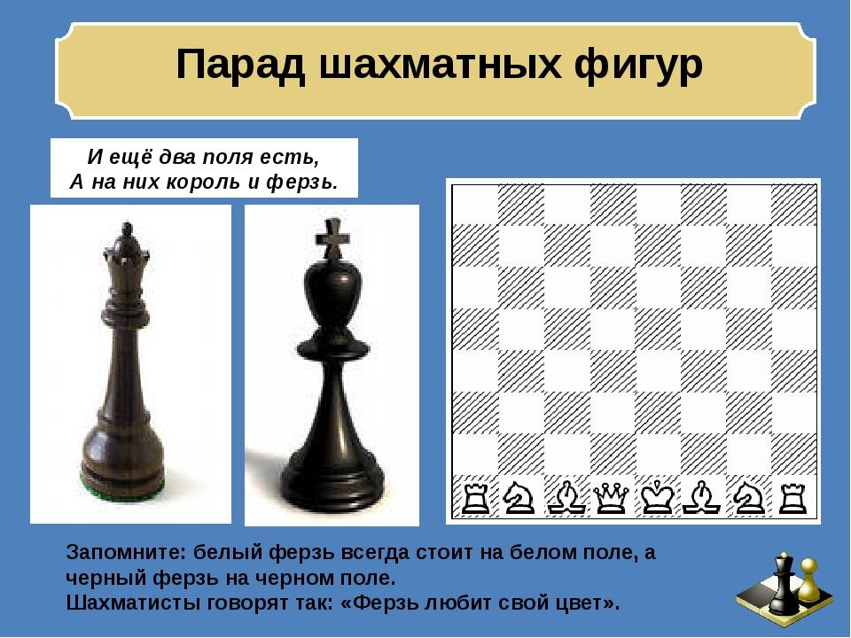 Парад шахматных фигур И ещё два поля есть, А на них король и ферзь. Запомнит...