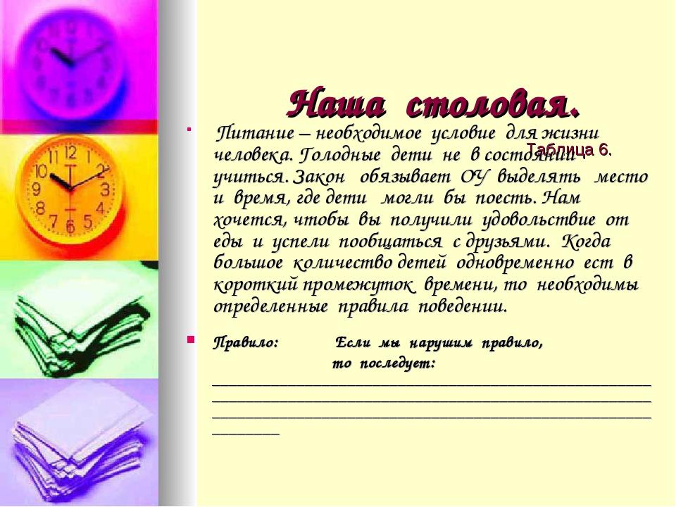 Наша столовая. Таблица 6. Питание – необходимое условие для жизни человека....