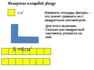 Измерение площадей фигур Измерить площадь фигуры – это значит сравнить ее с