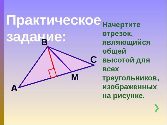 Практическое задание: Начертите отрезок, являющийся общей высотой для всех тр...