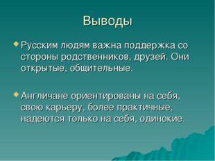 Выводы Русским людям важна поддержка со стороны родственников, друзей. Они от