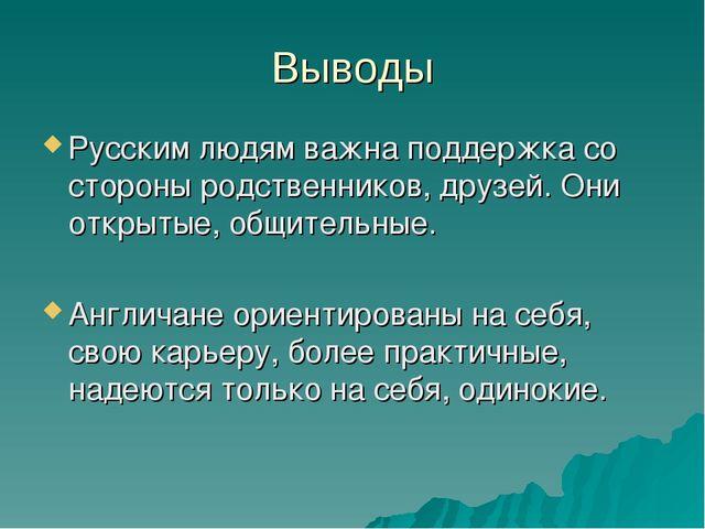 Выводы Русским людям важна поддержка со стороны родственников, друзей. Они от...