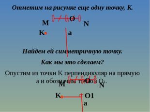 Отметим на рисунке еще одну точку, K. Найдем ей симметричную точку. Как мы эт