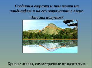 Соединим отрезки и эти точки на ландшафте и на его отражении в озере. Что мы