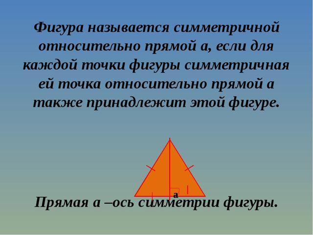 Фигура называется симметричной относительно прямой a, если для каждой точки ф...