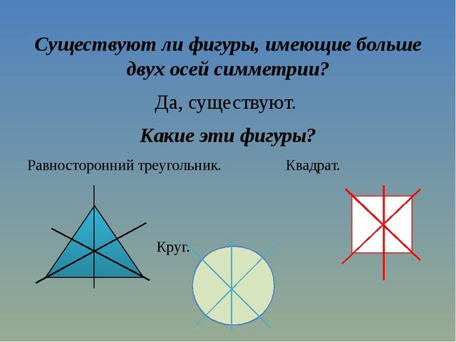 Существуют ли фигуры, имеющие больше двух осей симметрии? Да, существуют. Как...