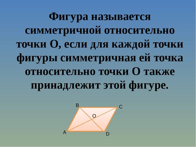 Фигура называется симметричной относительно точки O, если для каждой точки фи...