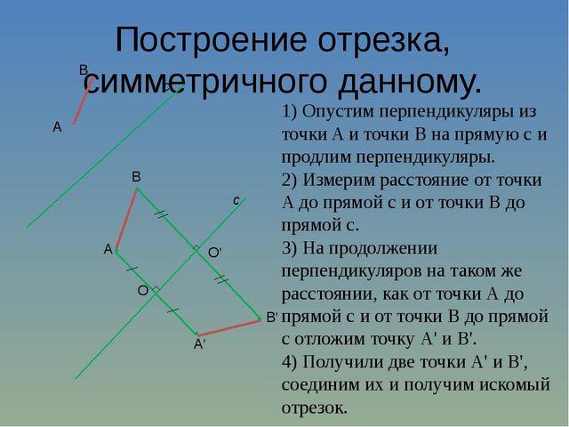 Построение отрезка, симметричного данному. 1) Опустим перпендикуляры из точки...