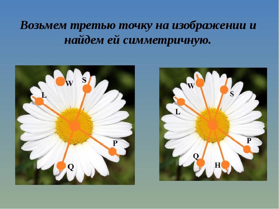 Возьмем третью точку на изображении и найдем ей симметричную.