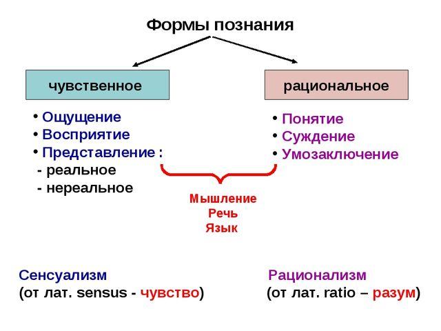 Формы познания чувственное рациональное Ощущение Восприятие Представление : -...