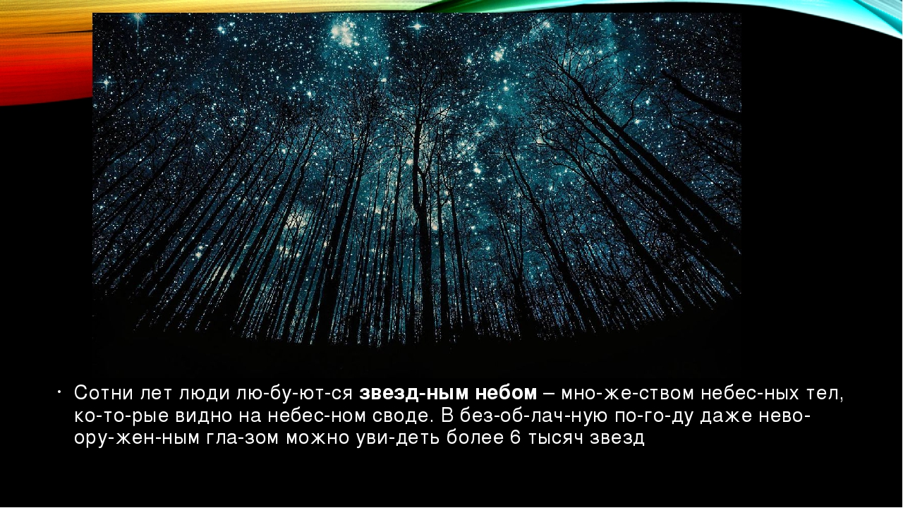 Сотни лет люди любуютсязвездным небом– множеством небесных тел, кот...