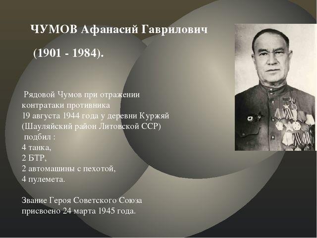 ЧУМОВ Афанасий Гаврилович (1901 - 1984). Рядовой Чумов при отражении контрата...