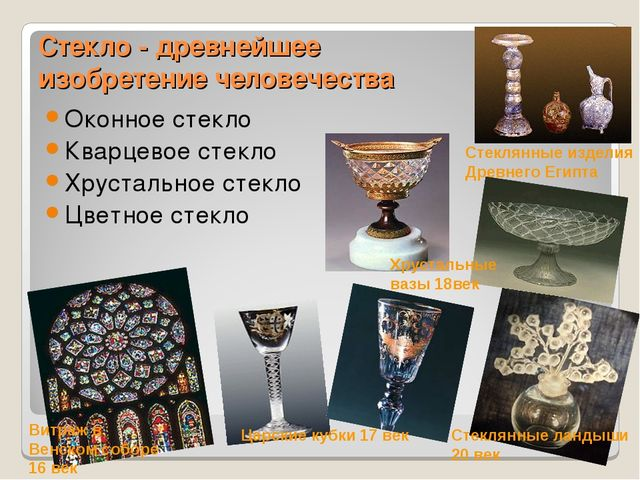 Стекло - древнейшее изобретение человечества Оконное стекло Кварцевое стекло...