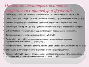 Описание некоторых основных графических процедур и функций SetPixel(x,y,color