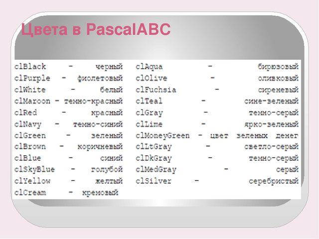 Цвета в PascalABC