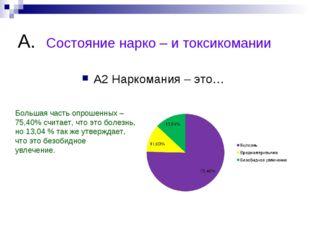 А. Состояние нарко – и токсикомании А2 Наркомания – это… Большая часть опроше