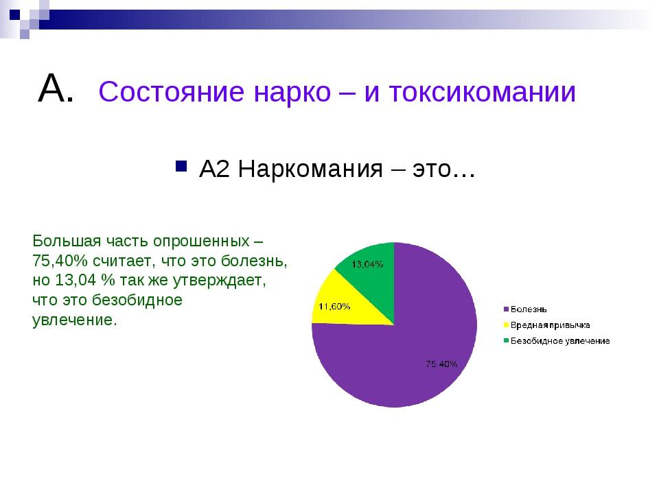 А. Состояние нарко – и токсикомании А2 Наркомания – это… Большая часть опроше...