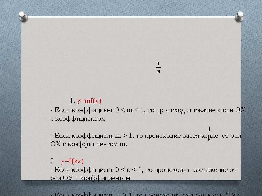 1. у=mf(x) - Если коэффициент 0 < m < 1, то происходит сжатие к оси ОХ с к...