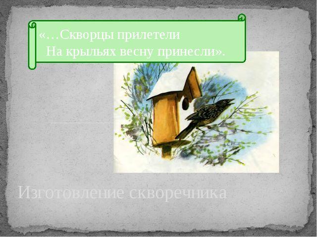 Изготовление скворечника «…Скворцы прилетели На крыльях весну принесли».