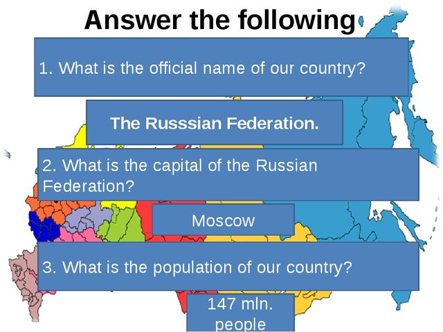 Answer the following questions. 1. What is the official name of our country?...