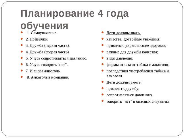 Планирование 4 года обучения 1. Самоуважение. 2. Привычки. 3. Дружба (первая...