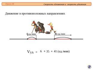 Vуд. = 6 35 = 41 (ед./мин) + Движение в противоположных направлениях 35 ед./м