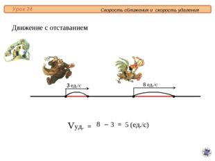 Vуд. = 8 3 = 5 (ед./с) – Движение с отставанием 3 ед./с 8 ед./с 3 8 Скорость