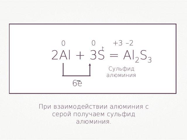 2Al + 3S= Al2S3 0 0 +3 –2 При взаимодействии алюминия с серой получаем сульф...