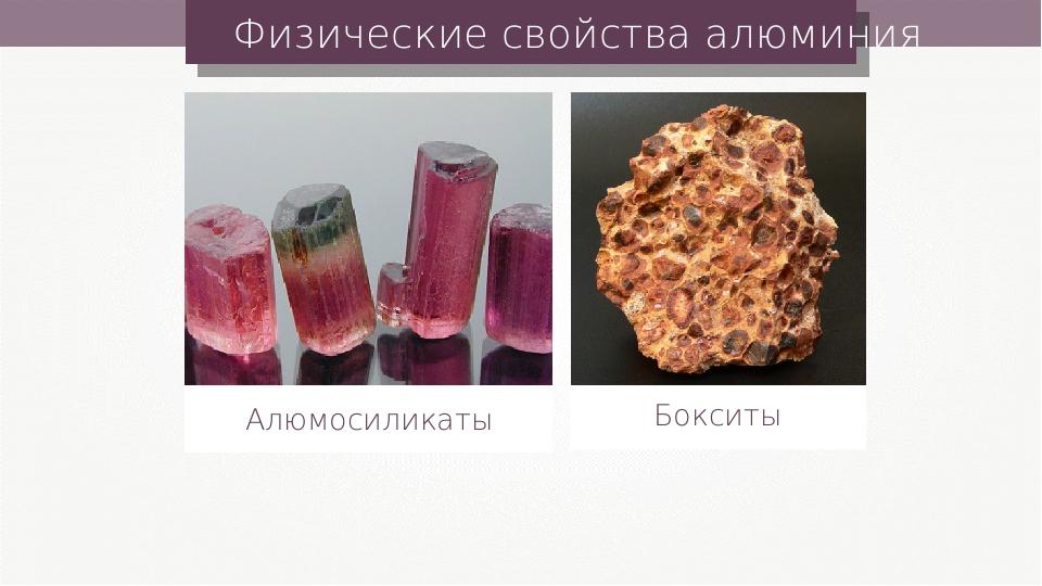 Физические свойства алюминия Алюмосиликаты Бокситы