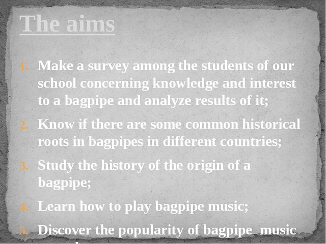 Make a survey among the students of our school concerning knowledge and inter...