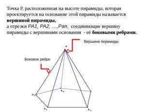 Точка P, расположенная на высоте пирамиды, которая проектируется на основание