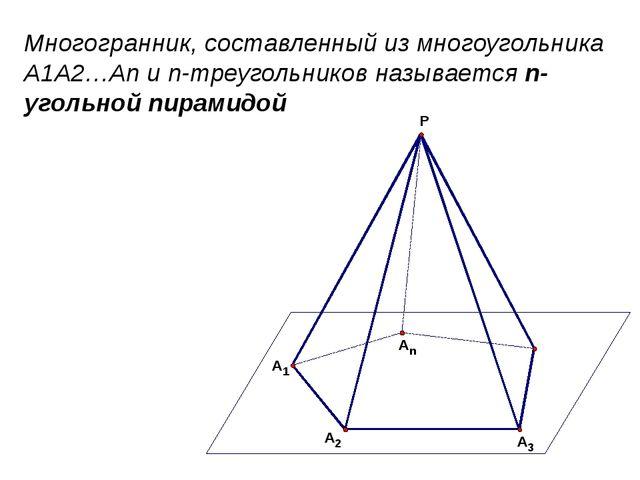 Многогранник, составленный из многоугольника A1A2…An и n-треугольников называ...