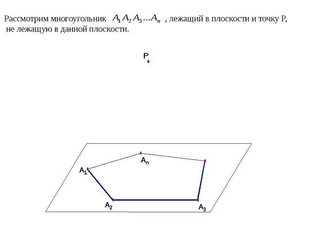 Рассмотрим многоугольник , лежащий в плоскости и точку P, не лежащую в данной...