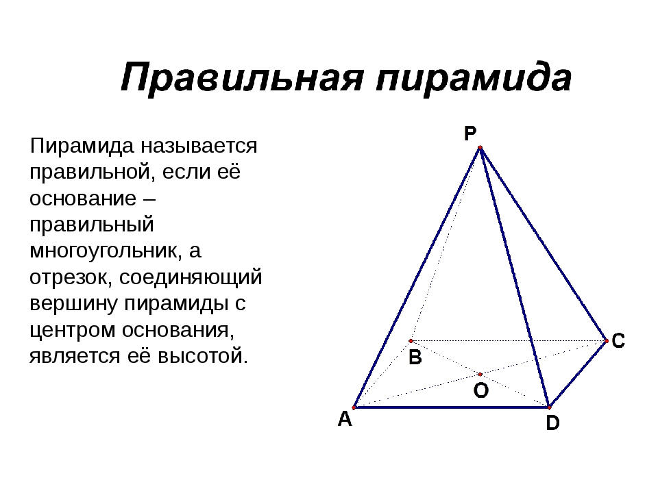 Пирамида называется правильной, если её основание – правильный многоугольник,...