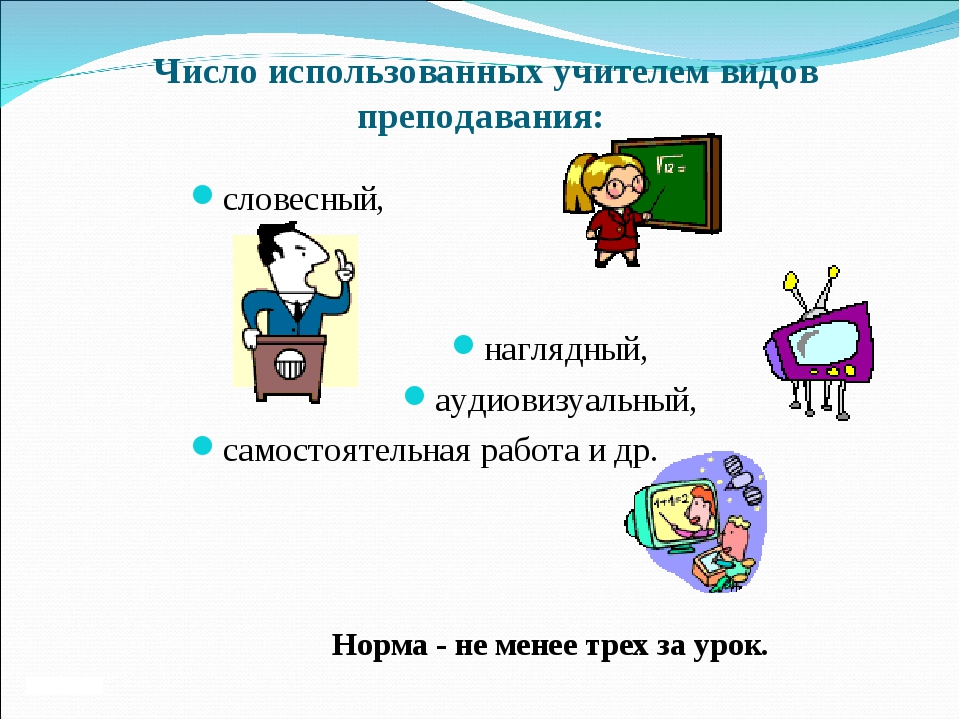 Число использованных учителем видов преподавания: словесный, наглядный, аудио...