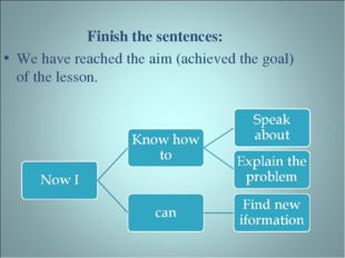Finish the sentences: We have reached the aim (achieved the goal) of the less