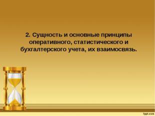 2. Сущность и основные принципы оперативного, статистического и бухгалтерског