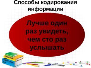 Способы кодирования информации Зарубина О.Б. МБОУ СОШ №3 Лучше один раз увид