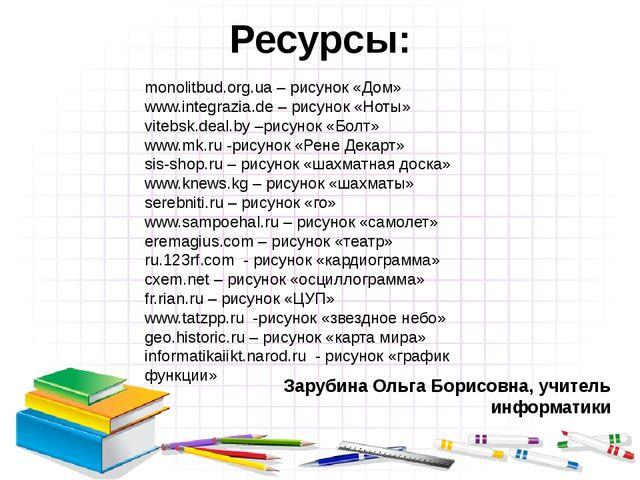 Ресурсы: Зарубина Ольга Борисовна, учитель информатики monolitbud.org.ua – р...