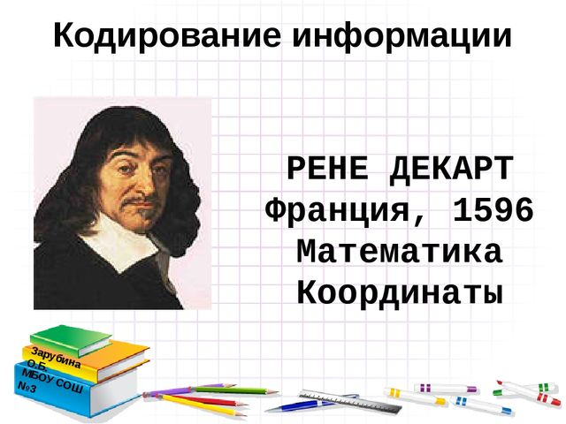 Кодирование информации Зарубина О.Б. МБОУ СОШ №3 РЕНЕ ДЕКАРТ Франция, 1596 М...