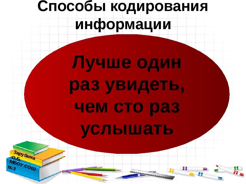 Способы кодирования информации Зарубина О.Б. МБОУ СОШ №3 Лучше один раз увид...