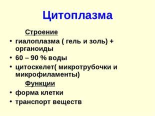 Цитоплазма Строение гиалоплазма ( гель и золь) + органоиды 60 – 90 % воды ц