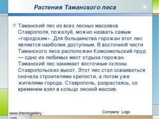 Растения Таманского леса Таманский лес из всех лесных массивов Ставрополя, по