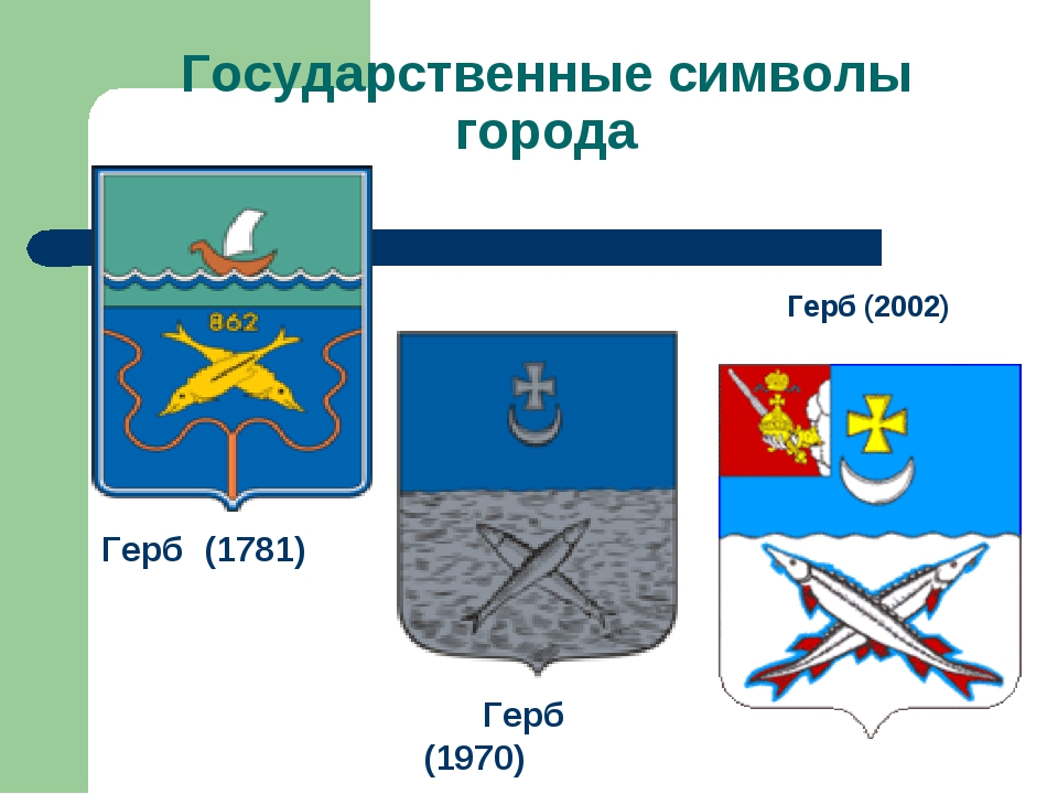 Государственные символы города Герб (2002) Герб (1781) Герб (1970)