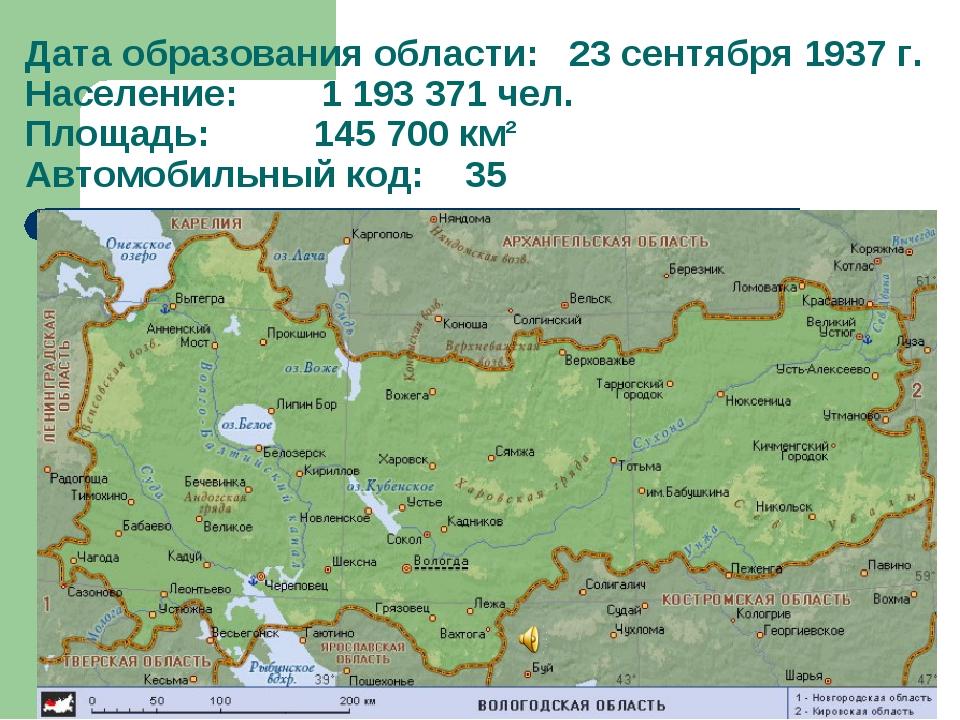 Дата образования области: 23 сентября 1937 г. Население: 1 193 371 чел. Площа...