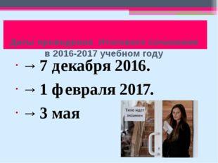 Даты проведения Итогового сочинения в 2016-2017 учебном году → 7 декабря 201